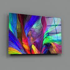 neon abstract tempered glass printing