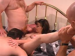 One woman three men orgy