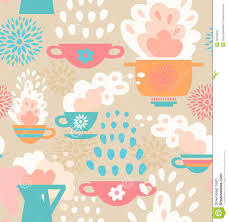 Beautiful Kitchen Wallpaper Texture Creative Seamless Pattern Background On Decor