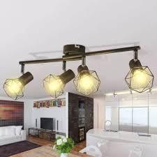 Lamp In Industriële Stijl Met 4 Led Spotjes Zwart