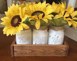Image Image Rustic Mason Jar Decor Flowers Wooden Box Mason Jar With Flowers Mason Jar Decor Home Decor Sunflower Decor Etsy Sunflower Home Decor Etsy