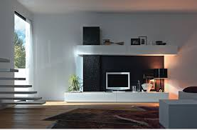 modern entertainment wall units and white walls
