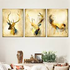 canvas painting children s room decoration 3 panel watercolor animal deer print modular pictures framework poster
