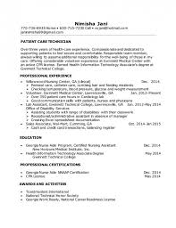 Patient Care Technician Resume With No Experience  Resume Examples