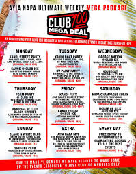 club 100 is without a doubt the best deal you will ever have on your holiday trip to ayia napa it s an essential money saver for all the must do events