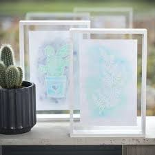two sided picture frame a picture with drawing gum designs and aqua paint in a double