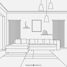 style design furniture. living room linear style design free vector furniture