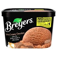 a 48 ounce tub of breyers extra creamy chocolate simple pack image