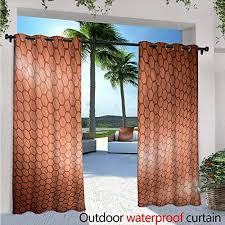 blountdecor abstract patio curtains w84 x l108 hexagonal comb mesh pattern with abstract wave motion effect geometric image print outdoor curtain for patio