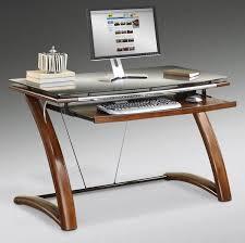 small brown wooden glass top computer desks