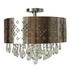 portfolio flush mount ceiling fixture portfolio 18 in w chrome metal semi flush mount