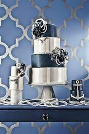 navy blue and silver decorations page