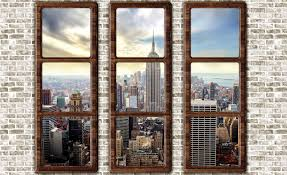 New York City Skyline Window View Wall Paper Mural Buy At Europosters