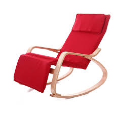 Comfortable Relax Wood Rocking Chair With Foot Rest Design Living Room  Furniture Modern Chaise Lounge Recliner Fabric Cushion-in Chaise Lounge  from ...