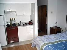Example Of Kitchenette Located In A Small Studio Apartment Of Sherbrooke,  Quebec, Canada.