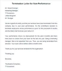 Sample Termination Letter For Non Performance Of Firing An Employee
