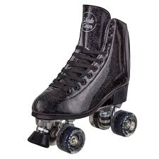 cal 7 sparkly roller skates for indoor outdoor skating faux leather quad skate with ankle support 83a pu wheels for kids s black youth 3