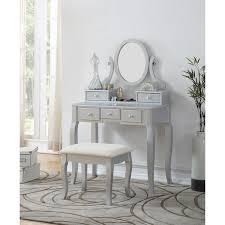 ashley wood makeup vanity table and stool set