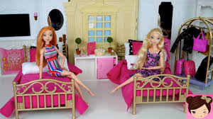 Barbie Evening Routine Princess Bedroom Frozen Queen Elsa & Anna - Doll  Grand Hotel