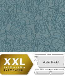 Bloemen Behang Edem 9040 28 Vliesbehang Hardvinyl Warmdruk In Reliëf Gestempeld Met Bloemmotief Glimmend Blauw 1065 M2