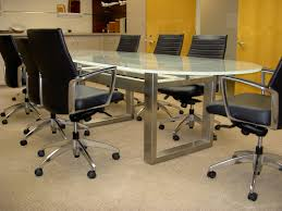 glass top conference table 3 4 th low iron frosted racetrack glass top table with custom brushed stainless steel metal base 3 4 th clear round table with