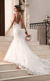 satin lace fit and flare wedding dress stella york wedding dresses