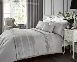 silver grey faux silk satin king size duvet cover pillowcase set by dreams n ds co uk kitchen home