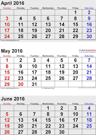 At A Glance 3 Month Calendar June 2016 Calendars For Word Excel Pdf