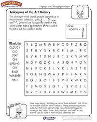 Small Picture Antonyms at the Art Gallery 3rd Grade Language Arts Worksheets
