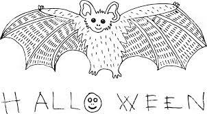 Kleurplaat En Doodle Schets Met Vleermuis En Halloween Word Vakantie