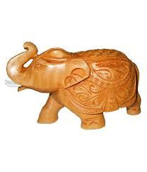 oj ncreative rajasthan brown wood carving elephant trunk up