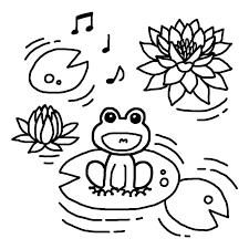 ハスの花とカエル白黒梅雨6月の無料イラスト夏の季節行事素材