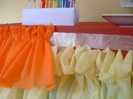 How to make a ruffled tablecloth out of plastic tablecloths...just what I
