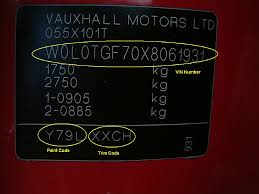Vauxhall Colour Chart Vauxhall Paint Codes Car Touch Up Paint Car Paint