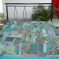 Blue indian embroidered quilt vintage patchwork bed cover baby blanket & Blue indian embroidered quilt bohemian patchwork bed cover baby  blanket-Jaipur Handloom ... Adamdwight.com