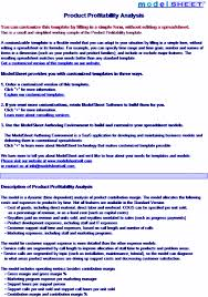 Product Profitability Analysis Excel Product Profitability Analysis Template