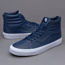 mens shoes vans sk8 hi reissue zip premium leather dress blues v4kyii8