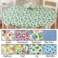 fitted elastic no slip fit table cover with soft flannel backing round hydrangea com