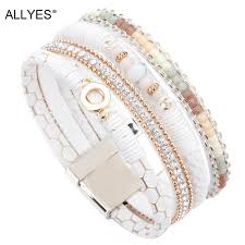 2019 allyes white leather bracelets for women jewelry trendy round metal charm rhinestone crystal wide multilayer bracelet female from xiamenwatch