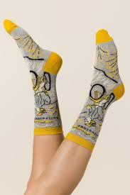 Blue Q Hellraiser Crew Socks- beige-clmodel