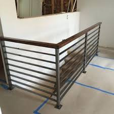 Farmhouse stair railing Modern Horizontal Slat Railing Brushed Steel By Kyle Harrity Custommade Custom Railings And Handrails Custommadecom