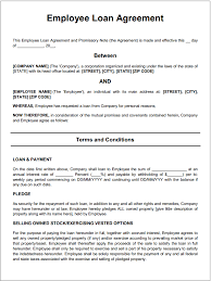 Company Loan To Employee Agreement Free Printable Employee Loan Agreement Printable Agreements