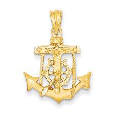 14k yellow gold mariners cross pendant c139