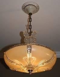 antique beige glass 14 shade art deco light fixture ceiling chandelier 1940s