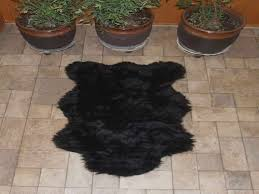 chair attractive fake bear skin rug with head interior small black fur without on stone porch