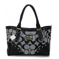 Coach Stud In Signature Medium Grey Satchels BUD