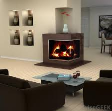 a fireplace with fire glass