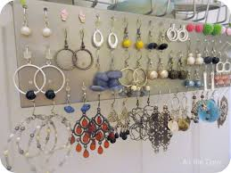 interior: Tidy Earrings With Coloful Details And Various Shapes On Grey  Metal Jewelry Holder Diy
