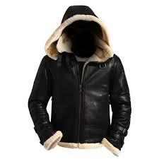 mens black b3 hooded shearling genuine real leather jacket