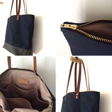 custom bag medium zipper tote waxed canvas and leather bag midnight blue with charcoal grey